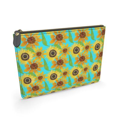 Naive Sunflowers On Turquoise Leather Pouch