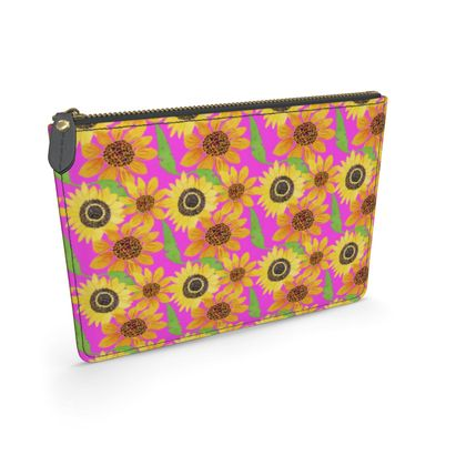 Naive Sunflowers On Fuchsia Leather Pouch