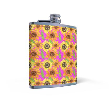 Naive Sunflowers On Fuchsia Leather Wrapped Hip Flask