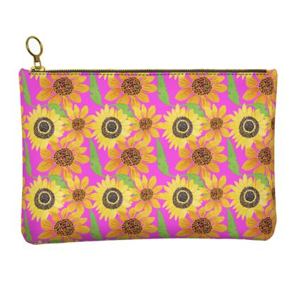 Naive Sunflowers On Fuchsia Leather Clutch Bag