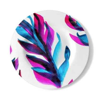 Bright Blue and Pink Leaf Decorative Plate