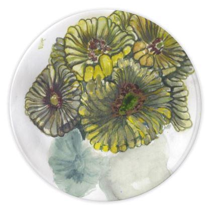 Yellow Watercolour Anemone China Plates