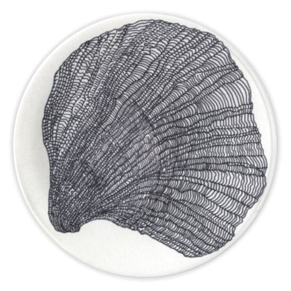Black and White Sea Shell China Plates