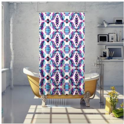 Modern Pink and Blue Geometrical Shower Curtain