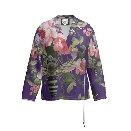 Purple Flora and Bees Wrap Blazer