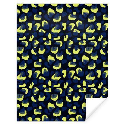 Yellow and Blue Animal Print Gift Wrap