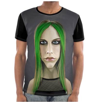 Avril Lavigne Celebrity Caricature Cut and Sew T Shirt