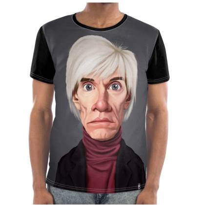Andy Warhol Celebrity Caricature Cut and Sew T Shirt