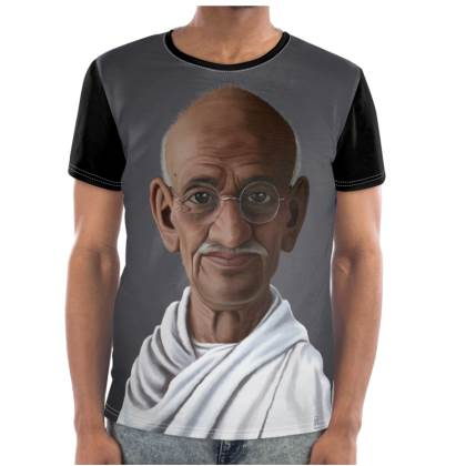 Mahatma Gandhi Celebrity Caricature Cut and Sew T Shirt