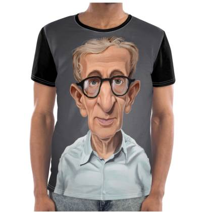 Woody Allen Celebrity Caricature Cut and Sew T Shirt