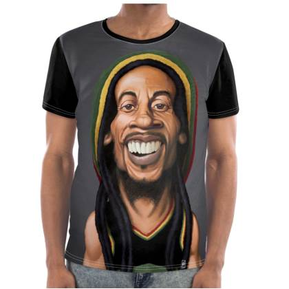 Bob Marley Celebrity Caricature Cut and Sew T Shirt