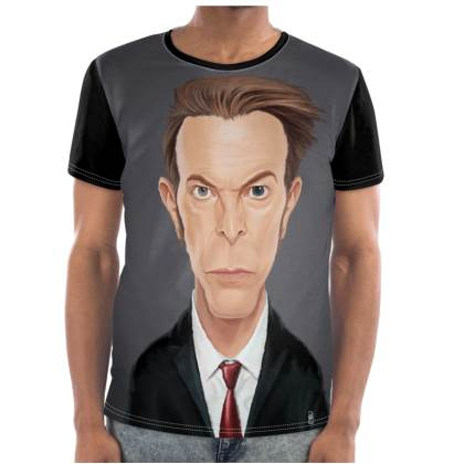 David Bowie Celebrity Caricature Cut and Sew T Shirt