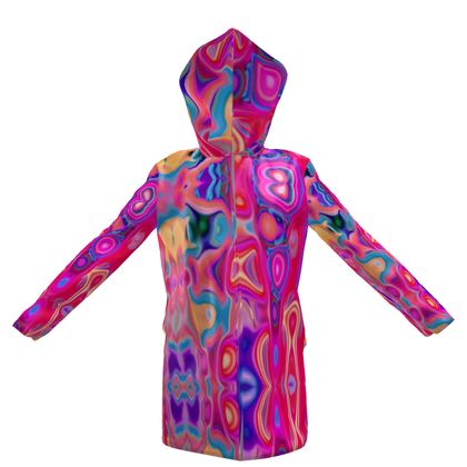 Womens Hooded Rain Mac Fashion Circles 1