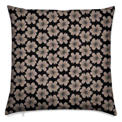 Soft Beige Floral Print Cushion