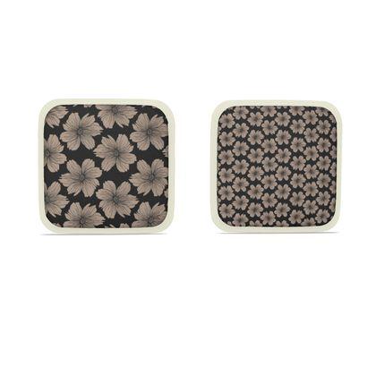 Soft Beige Floral Print Hot Dish Pads
