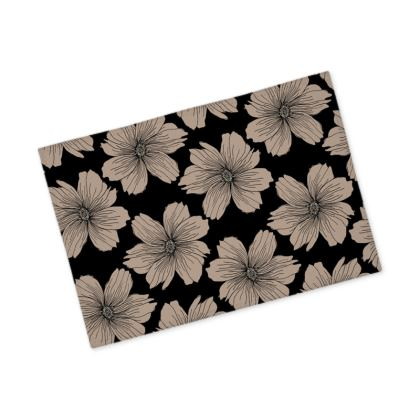 Soft Beige Floral Print Fabric Placemats