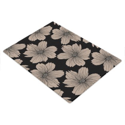 Soft Beige Floral Print Glass Chopping Board