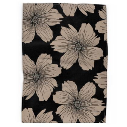 Soft Beige Floral Print Tea Towel