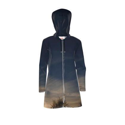 Womens Hooded Rain Mac - Low Sunset