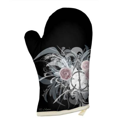 Oven Glove - Grytvante - Flower Triangle Black