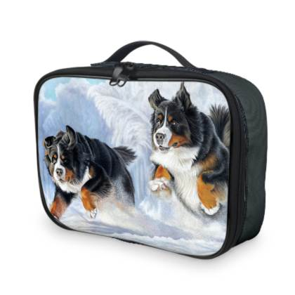Bernese Mountain Dog Lunch Bag - Dashing Through The Snow