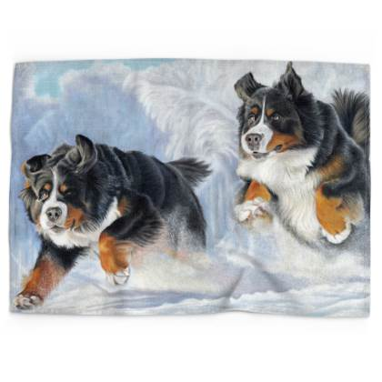 Bernese Mountain Dog Tea Towel - Dashing Through The Snow