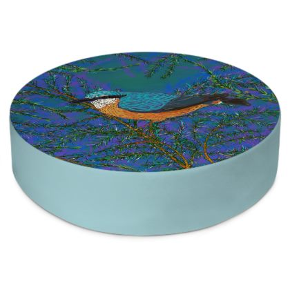 Nuthatch and Fir Round Floor Cushion