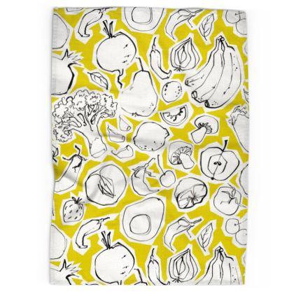 Lime flower tea towel