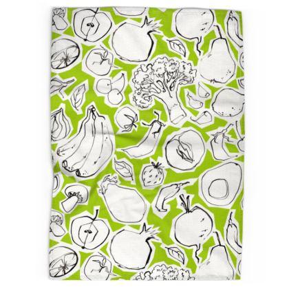 Mange tout and Brocolli tea towel