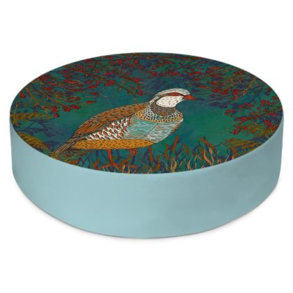 Partridge in the Hedgerow Round Floor Cushions