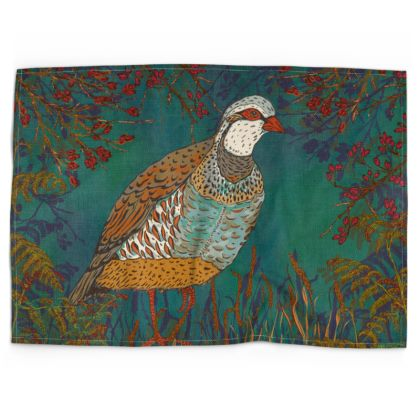 Partridge in the Hedgerow Tea Towel