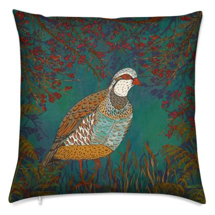 Partridge in the Hedgerow Cushion