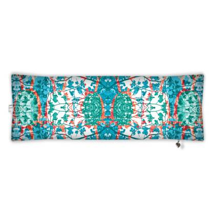 Teal Damask Bolster Cushion