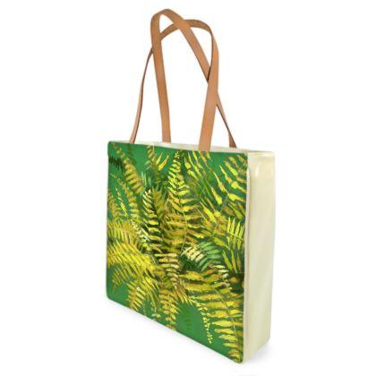 Fern, Green & Yellow, Floral Art Beach Bag