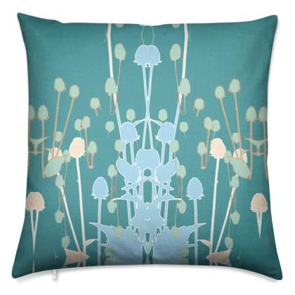 Teal Teasel Cushion