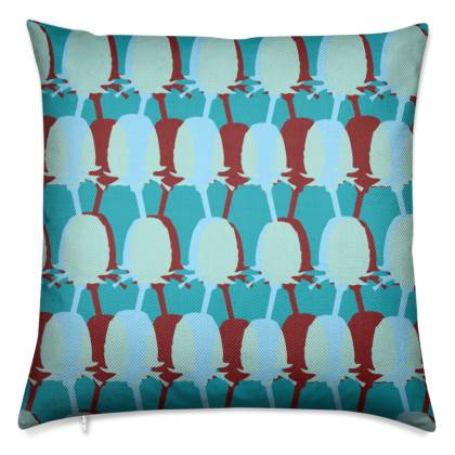 Teal Teasel Retro Cushion