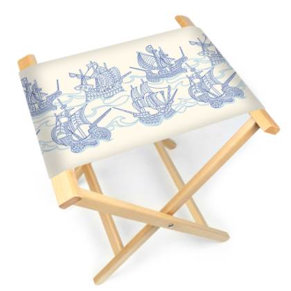 Blue Ships Folding Stool Chair