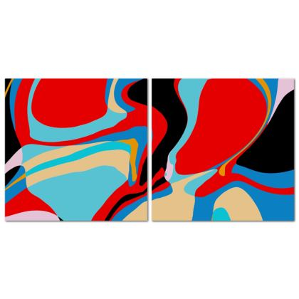 Cuzzello Red Abstract Canvas Set of 2