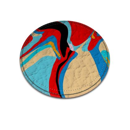 Cuzzello Red Leather Coasters