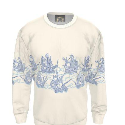 Blue Ships Sweatshirt - 2XL 44-47 chest
