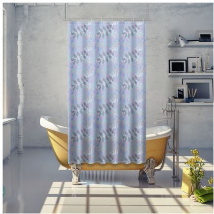 Shower Curtain Etched Leaves Blue
