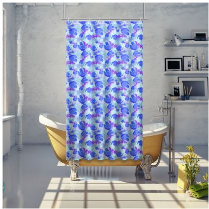 Shower Curtain Blue Lilac Poppies