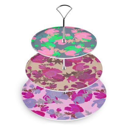 Cake Stand multicolour floral design