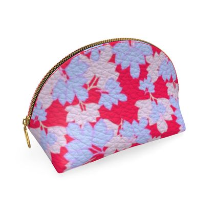 Shell Coin Purse Oriental Leaves on Cerise