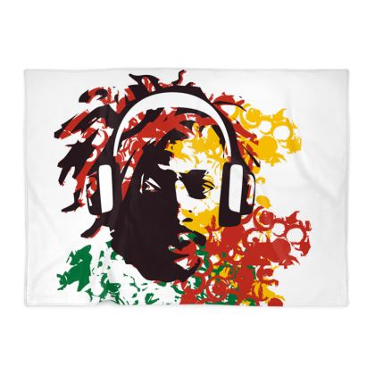 Blanket with the face of a Rasta man