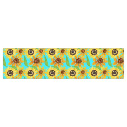 Naive Sunflowers On Turquoise Dog Lead