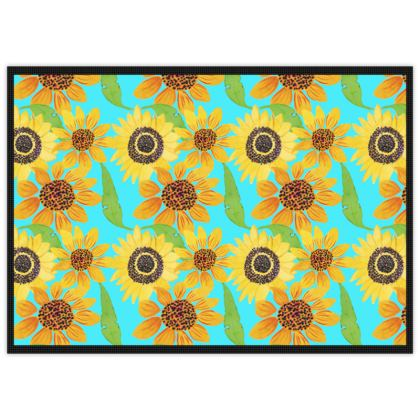 Naive Sunflowers On Turquoise Mats