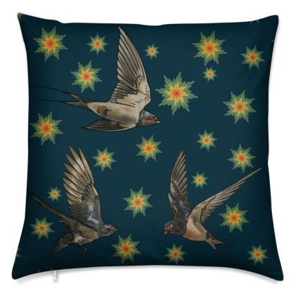 Swallows and Stars - Night cushion cover