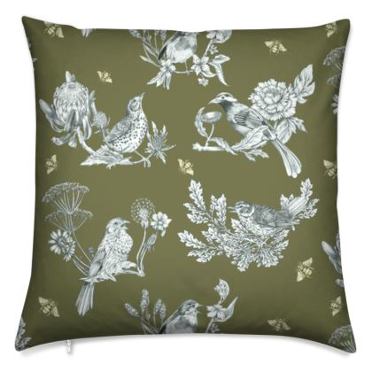 Chinoise Olive Grey cushion cover