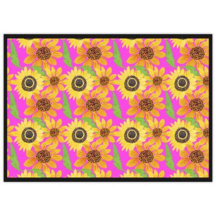 Naive Sunflowers On Fuchsia Mats